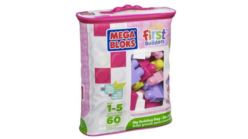 Fisher Price Mega Bloks First Builders Bausteinebeutel Medium 60 Teile pinkfarben