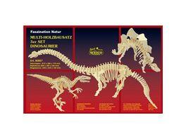 Weico 80857 3er Set Dinosaurier Holzbausatz