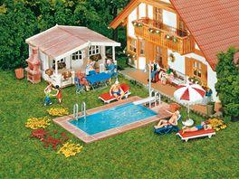 Faller H0 Swimming Pool Gartenhaus