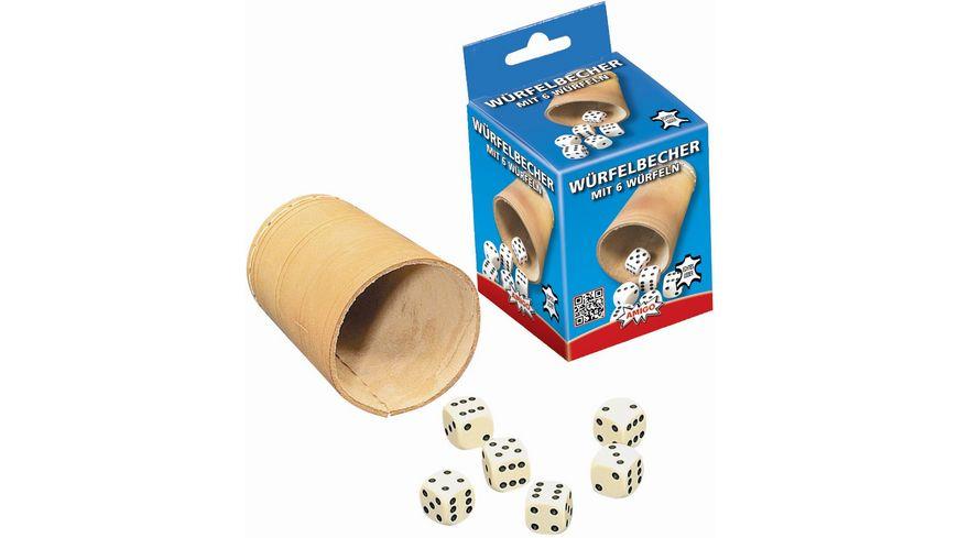 Noris Spiele Wuerfelbecher mit 6 Wuerfeln
