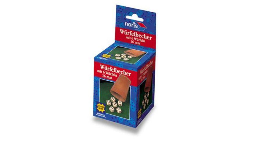 Noris Spiele Lederwuerfelbecher mit 6 Wuerfeln