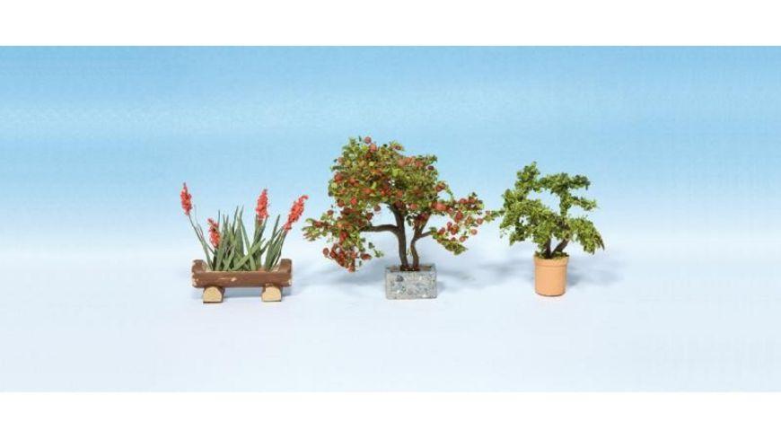 NOCH 14020 Zierpflanzen in Blumentoepfen 3 Blumentoepfe