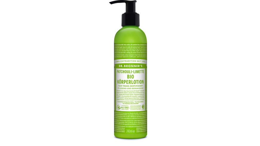 DR BRONNER S natuerliche Fair Trade Body Lotion Patchouli Limette