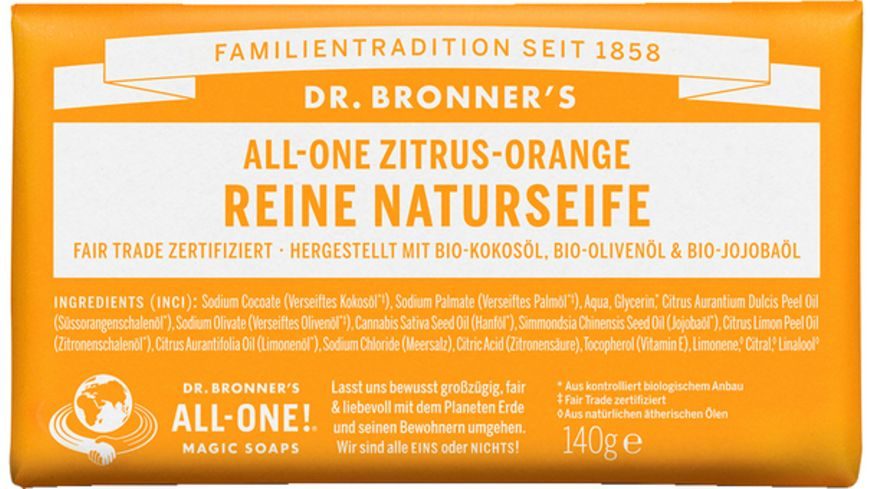 DR BRONNER S natuerliche Fair Trade Stueckseife Zitrus Orange