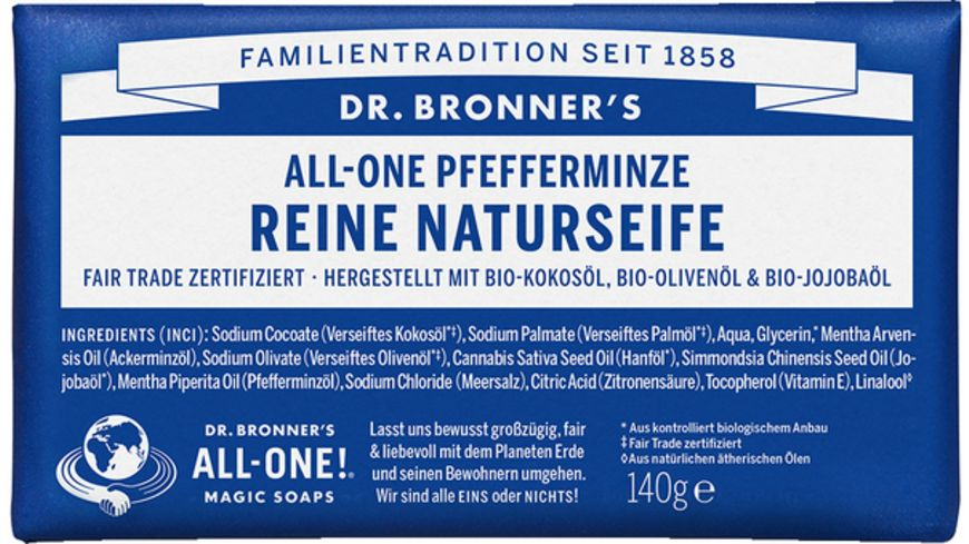 DR BRONNER S natuerliche Fair Trade Stueckseife Pfefferminze