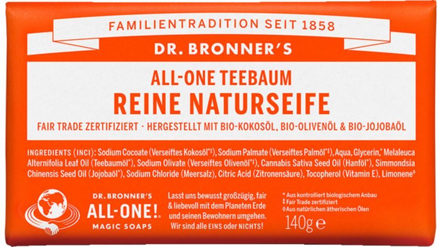 DR BRONNER S natuerliche Fair Trade Stueckseife Teebaum
