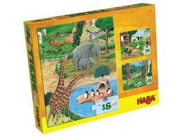 HABA Puzzlesortiment 12 15 18 Teile Tiere