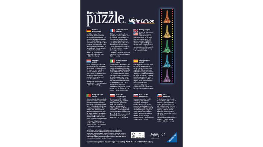 Ravensburger Puzzle 3D Puzzle Eiffelturm bei Nacht 216 Teile