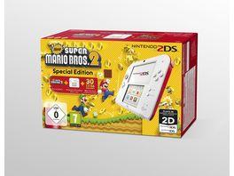 2DS Konsole weiss rot mit New Super Mario Bros 2