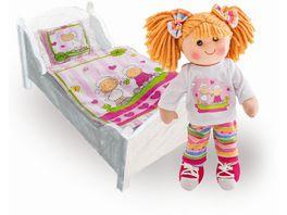 Heless Puppenbettdecke mit Kissen Faultier Flauschi