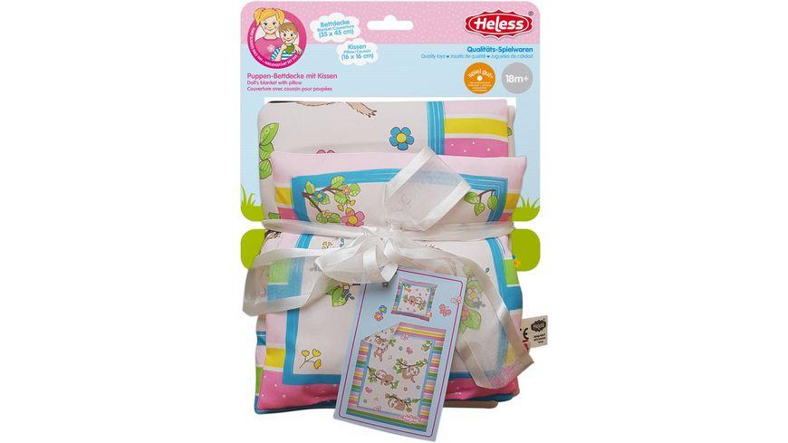Heless - Puppenbettdecke mit Kissen Faultier Flauschi