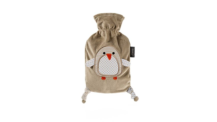 fashy Waermflasche mit Flauschbezug Pinguin Moll 0 8l