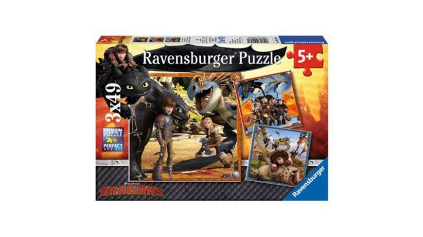 Ravensburger Puzzle Drachenreiter 3 x 49 Teile