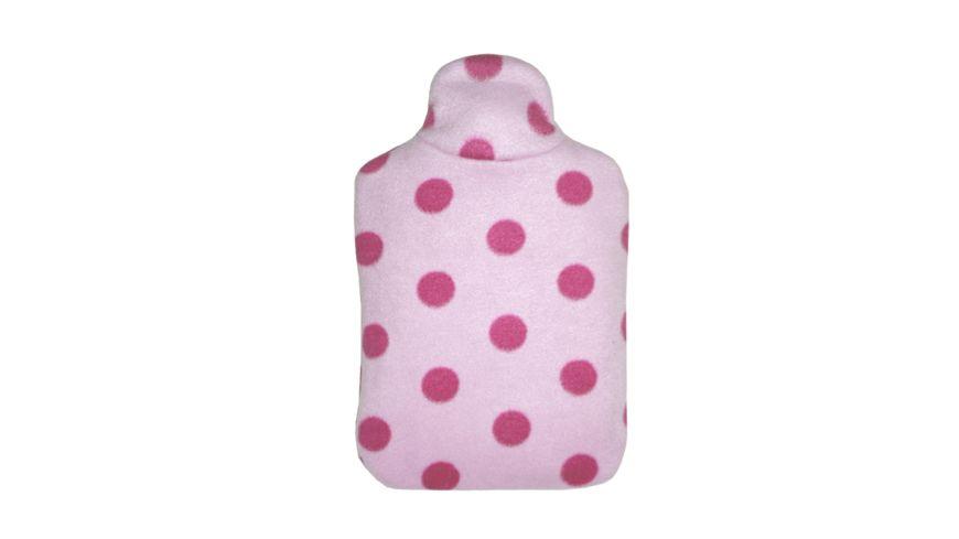 Hugo Frosch Kinder Oeko Waermflasche Double Fleecebezug Design rosa Punkte