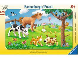 Ravensburger Puzzle Rahmenpuzzle Knuffige Tierfreunde 15 Teile
