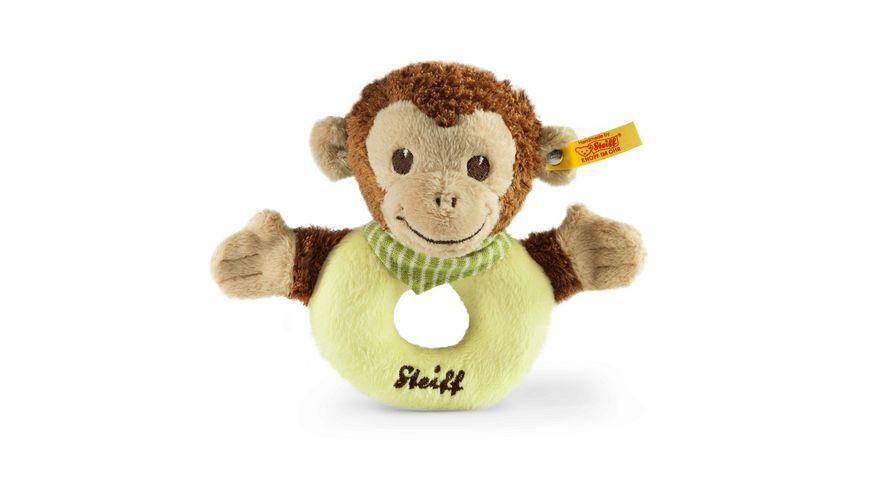 Steiff Babywelt Spielzeug Jocko Aeffchen Greifring mit Rassel braun beige gruen 12cm