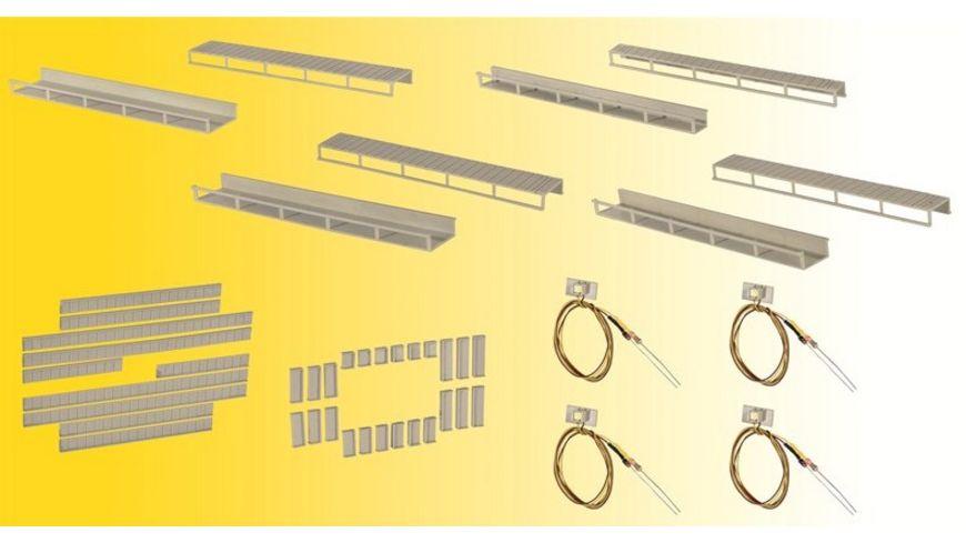 Viessmann 6045 Startset Etageninnenbeleuchtung 8 Schienen 4 verschiedene Groessen 4 LEDs weiss