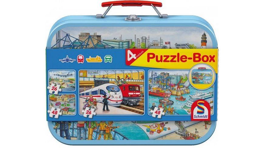 Schmidt Spiele Kinderpuzzle Puzzle Box im Metallkoffer 2 x 26 Teile 2 x 48 Teile