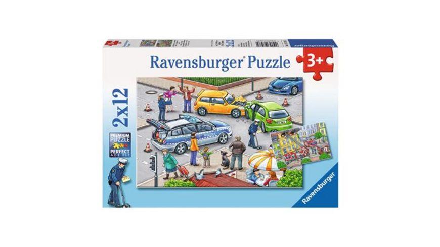 Ravensburger Puzzle Mit Blaulicht unterwegs 2 x 12 Teile