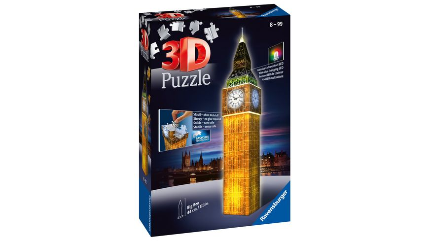 Ravensburger Puzzle - 3D Puzzle - Big Ben bei Nacht, 216 Teile
