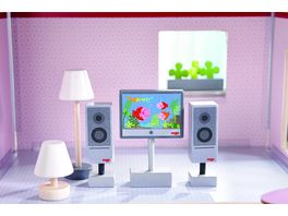 HABA Little Friends Puppenhaus Zubehoer Fernseher Leuchten