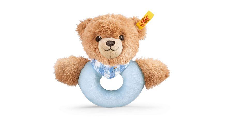 Steiff - Schlaf-gut-Bär Greifring mit Rassel, blau, 12cm