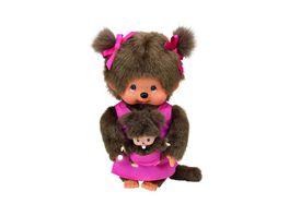 Monchhichi Mutter mit Baby 20 cm pink