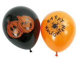 Fries Luftballons schwarz orange 6 Stueck sortiert