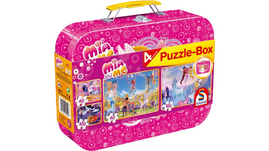 Schmidt Spiele Mia and me Puzzlebox 4 Puzzle im Metallkoffer
