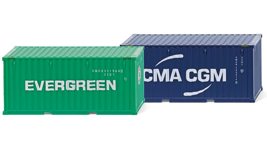WIKING 001814 Zubehoerpackung 20 Container NG Evergreen CMA CGM
