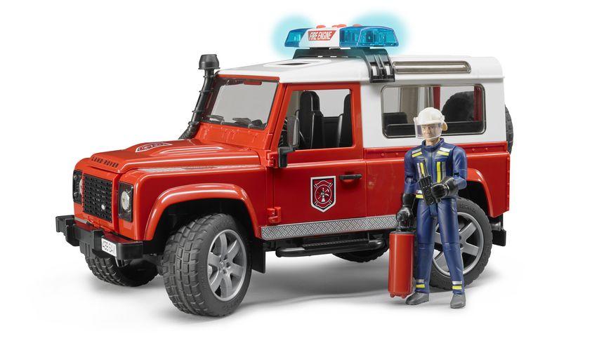 BRUDER Land Rover Feuerwehr Einsatzfahrzeug mit Feuerwehrmann 02596