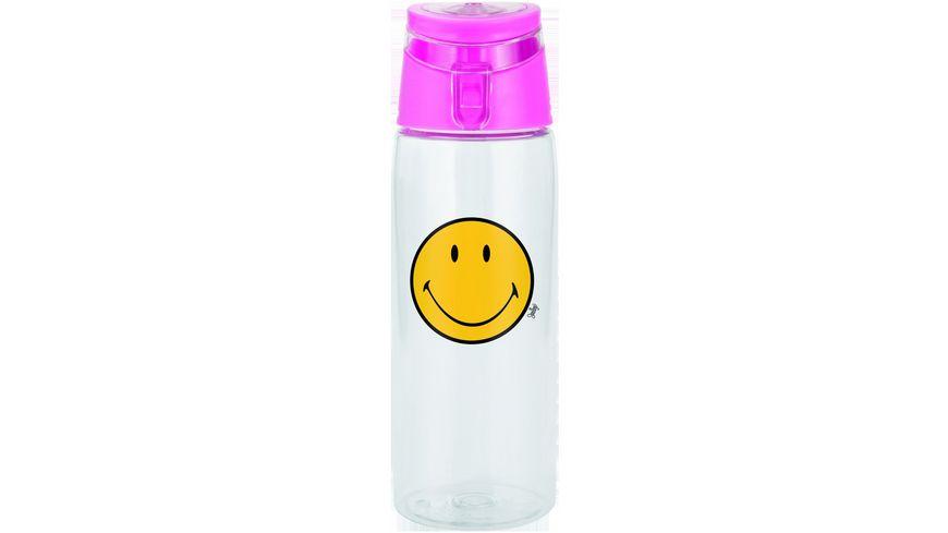 zak Trinkflasche Smiley Fuchsia Transparent