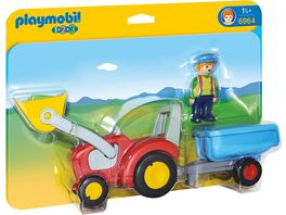 PLAYMOBIL 6964 1 2 3 Playmobil Traktor mit Anhaenger