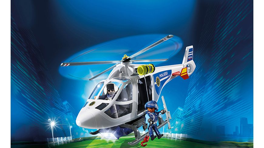 PLAYMOBIL 6874 City Action Polizei Helikopter mit LED Suchscheinwerfer