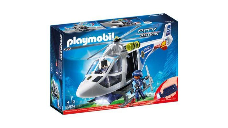 PLAYMOBIL 6874 City Action Polizei Helikopter mit LED Suchscheinwerfer