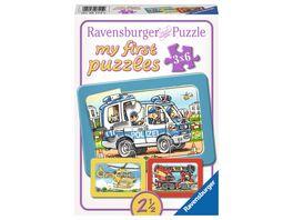 Ravensburger Puzzle Rahmenpuzzle Feuerwehr Polizei Krankenwagen 6 Teile