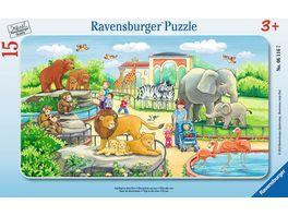 Ravensburger Puzzle Rahmenpuzzle Ausflug in den Zoo 15 Teile