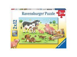 Ravensburger Puzzle Glueckliche Tierfamilien 2 x 12 Teile