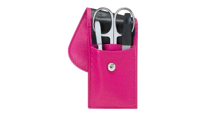 Manikuere Etui Leder 3 teilig pink