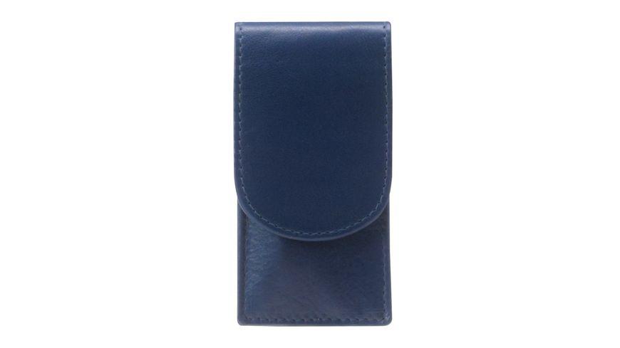 Taschenmanikuere Etui Leder 3 teilig blau