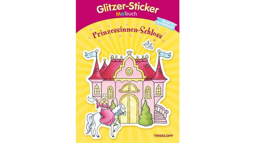 Tessloff Malen und Raetseln und mehr Malen Glitzer Sticker Malbuch Prinzessinnen Schloss