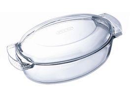 PYREX Borosilikat Glas Braeter oval 4 5 Liter mit Deckel