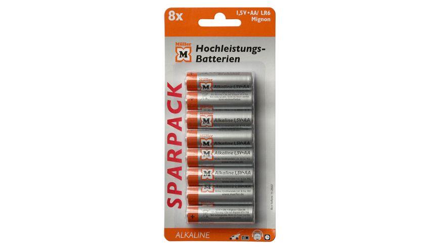 Mueller Hochleistungs Batterie Alkaline Mignon AA 1 5V 8 Stueck
