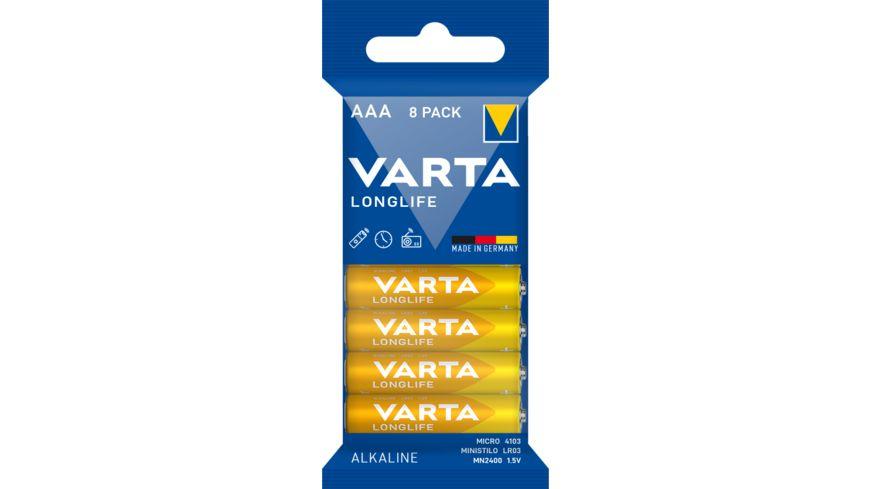 VARTA LONGLIFE Alkalinebatterie Micro AAA 1 5V 8 Stueck