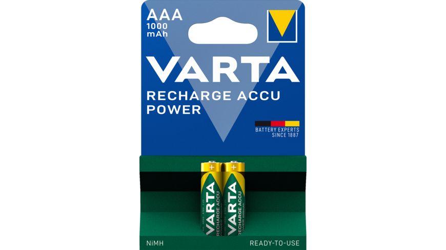 VARTA RECHARGE ACCU Power NIMH Akku Micro AAA 1000mAh 2 Stueck