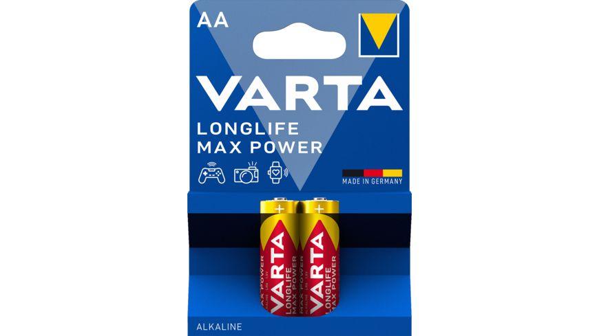 VARTA LONGLIFE Max Power Alkalinebatterie Mignon AA 1 5V 2 Stueck