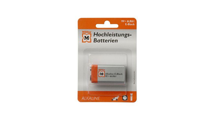 Mueller Hochleistungs Batterie Alkaline E Block 9V 1 Stueck