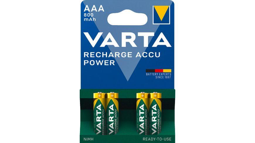 VARTA RECHARGE ACCU Power NIMH Akku Micro AAA 800mAh 4 Stueck