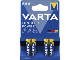 VARTA LONGLIFE Power Alkalinebatterie Micro AAA 1 5V 4 Stueck