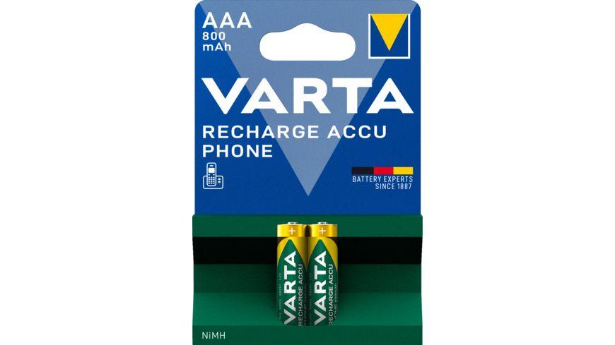 VARTA RECHARGE ACCU Phone NIMH-Akku Micro AAA 800mAh - 2 Stück